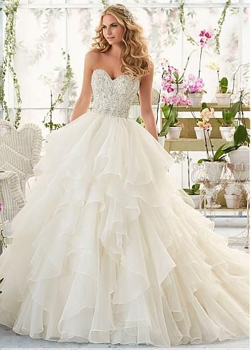 Ball Gown Wedding Dresses For Bride : Fabulous Organza Sweetheart ...