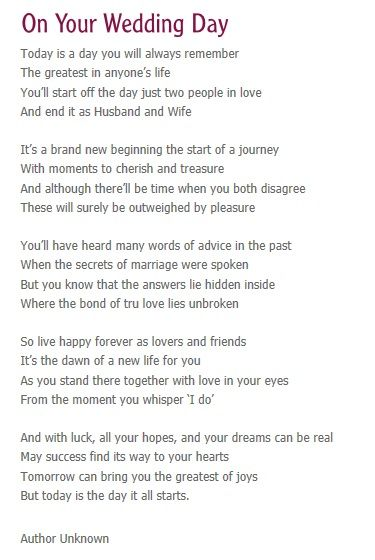 Wedding Quotes : On your wedding day- reading for service ...