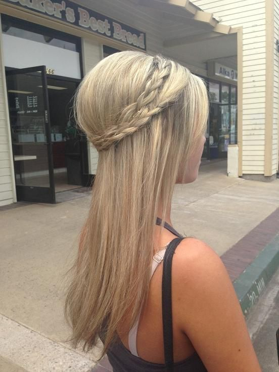 Wedding Hairstyle For Long Hair Straight Hair And Crown Braid
