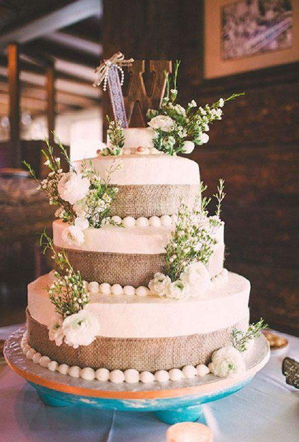 Wedding Quotes : three-tiered wedding cake with burlap ...
