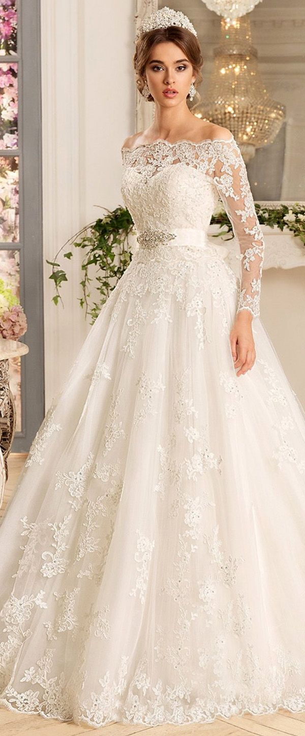 Ball Gown Wedding Dresses For Bride Glamorous Tulle Satin Off