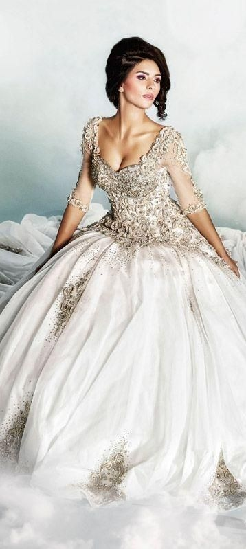 Ball Gown Wedding Dresses For Bride : White and Gold Wedding ...