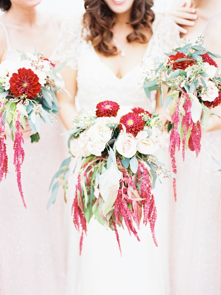 Wedding Bouquets Inspiration : Red and ivory flowers dripping with ...