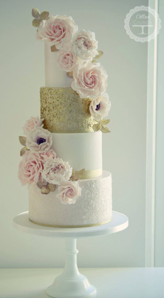 Wedding Cakes : Featured Cake: Cotton and Crumbs; Glamorous white ...