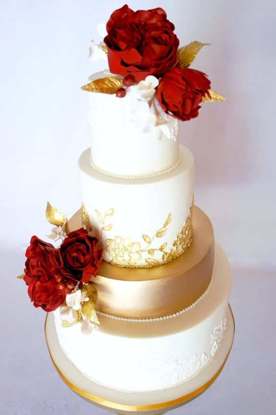 Wedding Cakes : Featured Cake: Sugarbelle Cakery; Romantic red ...