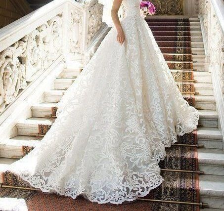 Ball Gown Wedding Dresses For Bride : Lace wedding dress with long ...