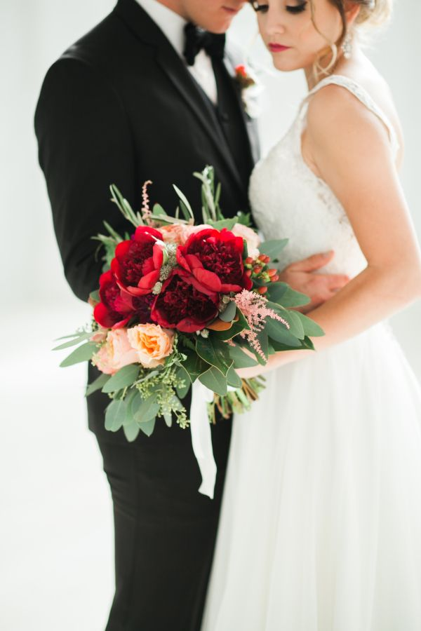 Wedding Bouquets Inspiration Romantic Red Peony Wedding Bouquet