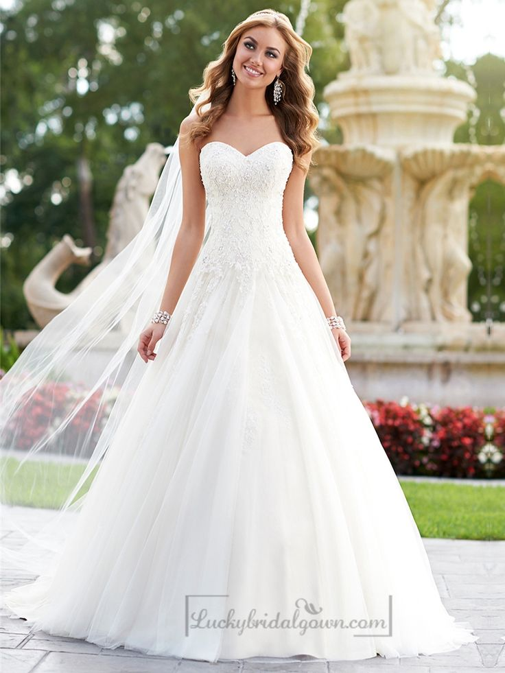 Ball Gown Wedding Dresses For Bride : A-line Sweetheart Diamante ...
