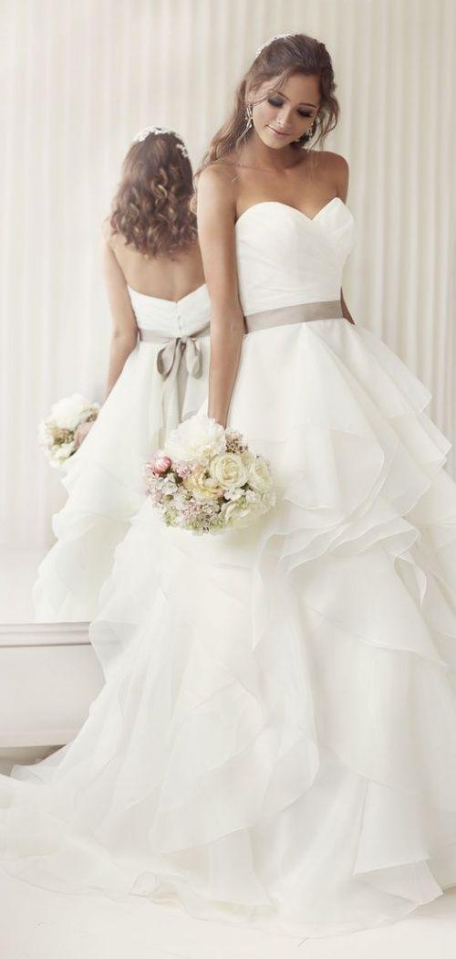 Ball Gown Wedding Dresses For Bride : Asymmetric Tiers Chapel Train ...