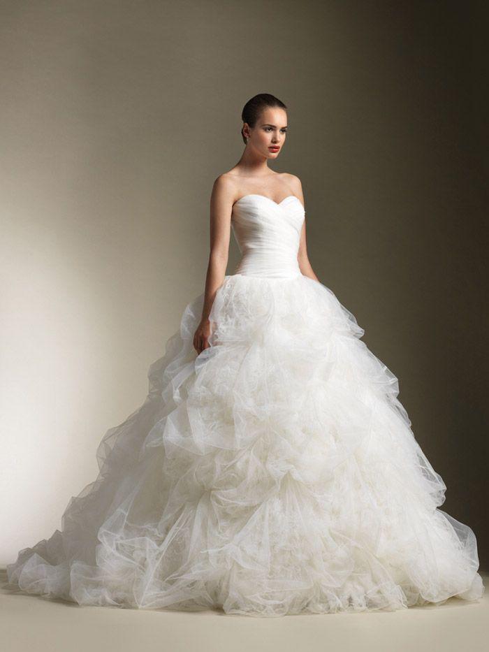 Ball gown wedding dresses for bride drop waist full tulle for Pick up skirt wedding dresses