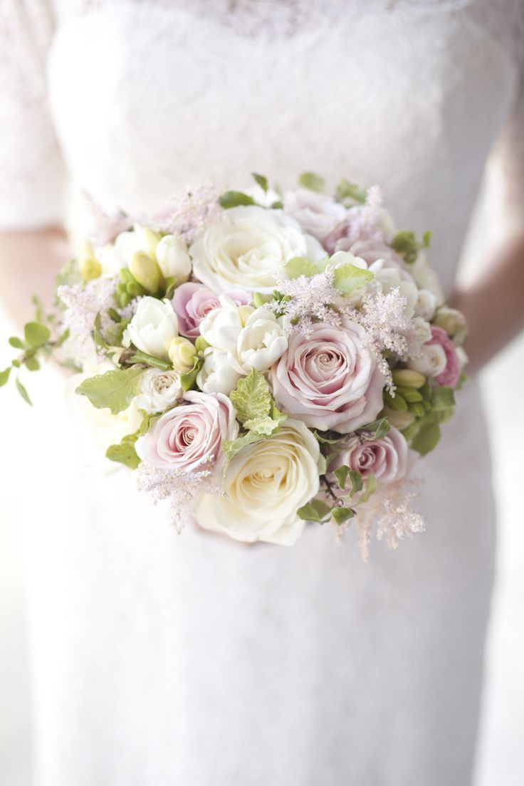 Wedding Bouquets Inspiration Light Pink Roses White Freesia And